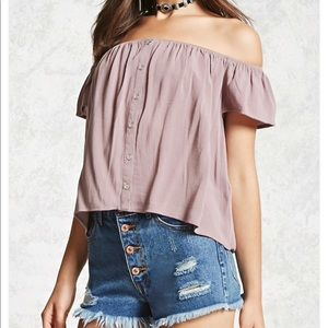Buttoned off the shoulder top (never worn)